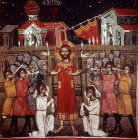 Cyprus, Kalopanyiotis, the Mocking of Jesus, 15th century mural in the Church of St Heracleidos