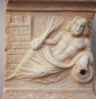 Paphos Cyprus Roman relief of the River God reclining by city walls