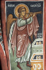 Cyprus, Asinou, Church of Our Lady of the Pastures or Panagia Phorbiotissa, the trumpeting angel, 14th century mural