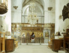 Kibris, Northern Cyprus, Greek Orthodox Church at St Barnabas Monastery, view towards iconostasis screen