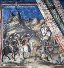The Magi follow the star, Italo-Byzantine style 15th century  mural in Latin Chapel Monastery Church of St John Lampadistis, Kalopanayiotis, Cyprus