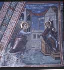 Annunciation, Italo-byzantine style, 15th century wall painting, Latin Chapel, Monastery of St John Lampadistis, Church of St Heracleidius, Kalopanayiotis, Cyprus
