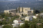 Bellepais Abbey, twelfth to thirteenth century, aerial view from south south west, Northern Cyprus