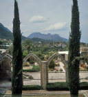 Bellapais Abbey, 12th to 13th century,with distant view of St Hilarion, Northern Cyprus