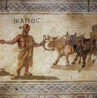 Icarios being taught the art of wine making by Dionysus, 3rd century Roman mosaic, Paphos, Cyprus