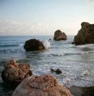 Paphos Cyprus Aphrodites Rock in the bay where legend says the Goddess rose from the water