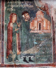 Byzantine wall painting of the donors, Church of St Demetrianos, 1317 AD, Dhali, Cyprus