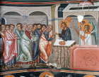 Communion of the Apostles, St Peter receiving the bread, fifteenth century wall painting, Church of the Saviour, Paleochorio, Cyprus