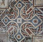 Cross pattern, detail of fifth century mosaic floor in Roman baths, Curium, Cyprus