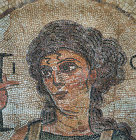 Ktisis, personification of Creation, detail of fifth century mosaic floor in Roman baths, Curium, Cyprus