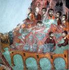 Last Supper, wall painting,  twelfth century,  St Neophytos Monastery, Paphos,  Cyprus