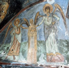 Cyprus, St Neophytos Monastery, on the day of judgement St Neophytos is raised from his grave by archangels Michael and Gabriel 1183 AD