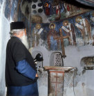 Cyprus, Sanctuary of St Neophytos mural 1503 AD wooden cross dates from 1159 AD