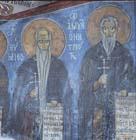 St Euthymios and St Ammoun Netriotis, 12th century wall painting, Monastery Church of St Nephytos, Cyprus
