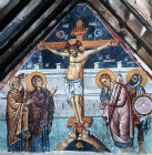 Cyprus, Louvaras, Church of St Mammas, the Crucifixion, mural painted by Philip Goul, 15th century