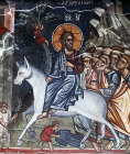Cyprus, Louvaras, Church of St Mammas, the entry into Jerusalem, 15th century mural