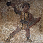 Paphos Cyprus 3rd century AD mosaic of an Athlete with a ball on the floor of a Roman Villa