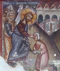 Jesus healing the blind beggar, 15th century wall painting by Philip Goul, Church of St Mammas, Louvaras, Cyprus