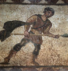 Paphos Cyprus 3rd century AD mosaic of a Boar Hunter on the floor of a Roman Villa