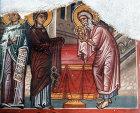 Cyprus, Louvaras, Church of St Mammas, the Presentation, 15th century mural by artist Philip Goul