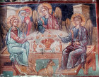 Abraham entertaining the three angels, fifteenth century wall painting in the Church of St Mammas, Louvaras, Cyprus