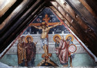Cyprus, Louvaras,  Church of St Mammas, the Crucifixion, 15th century mural by artist Philip Goul