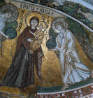 Kiti Cyprus  Church of Panagia Angeloktistos 7th century mosaic in the dome of the apse the blessed Virgin Maryand the archangel Gabriel