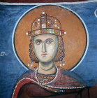 Cyprus, Lagoudera,  Solomon,  a 12th century mural in the Church of Panagia Tou Arakou, Lagoudera monastery, 12th century