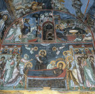 Cyprus, the Church of Panagia Phorbiotissa at Asinou, mural on west wall 1105-06 AD, the entry into Jerusalem, the Last Supper and the Dormintion
