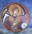 Archangel, 12th century wall painting, Monastery Church of Pangia tou Arakou, Lagoudera, Cyprus