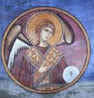 Archangel, 12th century wall painting, Monastery Church of Pangia tou Arakou, Lagoudera, Cyprus