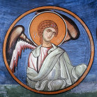 Cyprus, Lagoudera, one of the ten angels in the dome of the Monastery Church of Pangia tou Arakou
