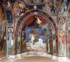 Cyprus, Asinou, Church 14th century mural in the south bay of the narthex, St George