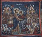 Betrayal, 14th century wall painting, Church of Panagia Phorbiotissa, Asinou, Cyprus