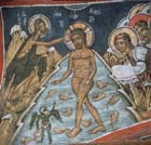 Baptism of Christ, 14th century wall painting, Church of our Lady of the Pastures, Asinou, Cyprus