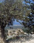 Bellapais Abbey, twelfth to thirteenth century, seen through trees, Northern Cyprus