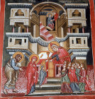 Cyprus, Platanistasa, Church of the Holy Cross, presentation  of the Virgin 15th century wall painting by Philip Goul