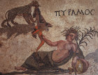 Paphos Cyprus Pyramus a detail from the mosaic of Pyramus and Thisbe 3rd century AD mosaic in Roman villa