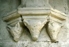 Bellepais Abbey, triple wolf headed corbel, Northern Cyprus