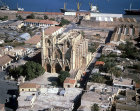 Cathedral of St Nicholas, now Lala Mustafa Mosque, aerial view, Famagusta, Northern Cyprus