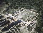 Gymnasium, dating from the  Roman period, aerial view from the east, Salamis, Northern Cyprus