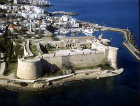 Kyrenia Castle, built by the Venetians, sixteenth century, over a previous crusader fortification, Kyrenia harbour and town, aerial from the east, Northern Cyprus
