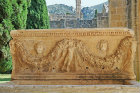 Bellapais Abbey, Roman sarcophagus in cloister, at entrance to the refectory, Northern Cyprus