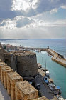Entrance to medieval harbour, seen from the castle, Kyrenia, Northern Cyprus