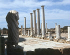 Statue at the east end of the  portico of the Palaestra, Salamis, Northern Cyprus