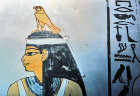 Egypt, Thebes, tomb painting, falcon god Horus protecting the queen