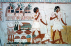 Egypt, Thebes, wall painting of the fruits of his labours to sustain Menna in next life, in the Tomb of Menna, tomb no 69 dating from circa 1422-1411 BC