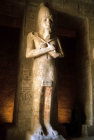 Egypt,  Abu Simbel, one of the eight Osiride colossi sculpted against pillars inside the main temple