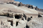 Egypt, Thebes, ruins with the modern village behind