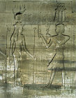 Egypt Dendera relief on the eastern facade of the Temple of Hathor showing the Goddess receiving gifts